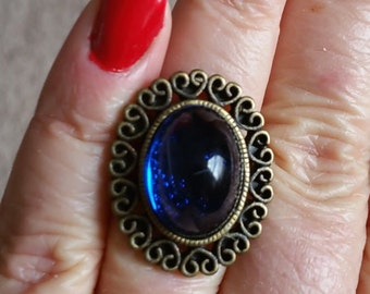Purple Red or Blue Queen's - Witch Rings -Renaissance Medieval Cabochon Gemstone Ring-  Adjustable