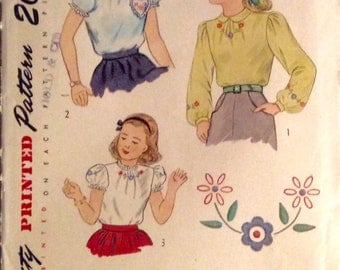 "Vintage 1940s 50s Simplicity Girls' Blouse Pattern 1783 Size 6 (24"" Chest)"