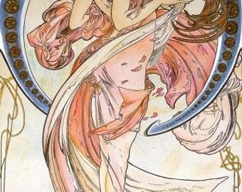 Art Nouveau Art Print by Alphonse Mucha named Dance