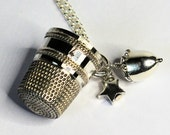 Custom for Kelly only Acorn and Antique Thimble Hidden Kisses Necklace Second Star Right Peter Pan and Wendy Sterling Silver
