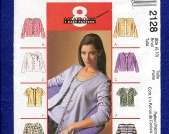 McCalls 2128 Cardigan Style Sweaters & Matching Top  Size Small 8/10 UNCUT