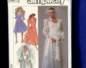 1980's Simplicity 8414 Wedding or Bridesmaid Dresses with Fitted Bodice & Full Skirt Size 14