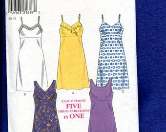 New Look 6755 Empire Waist Sun Dresses with Neckline Variations Size 6...8