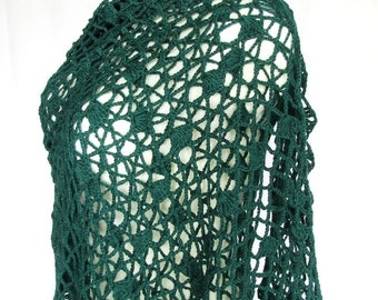 SALE - fishnet green stole, pine green forest green crocheted openwork wide evening shawl