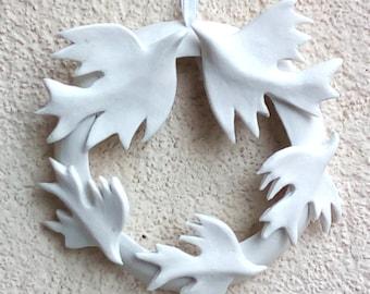 Indoor Porcelain Wreath White Winter  Wreath.   Wedding Favor.  Love birds . White bird flock.