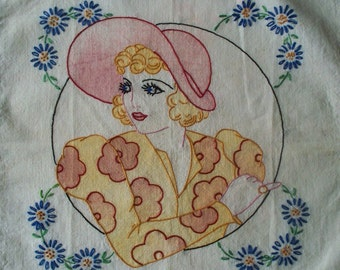 Vintage  Hand Embroidered  Pillow Cover - 1920 - 1940 Flapper Hat Lady -  Tinted