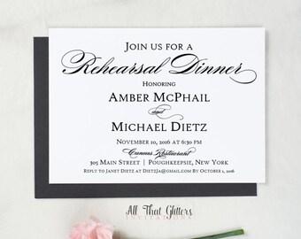 Wedding Rehearsal Dinner Invitations, Silver Rehearsal Dinner Invitations, Wedding Dinner Rehearsal, Rehersal Invitations, Amber