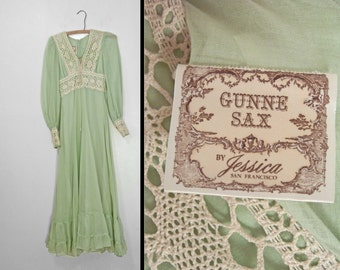 Green PEASANT Dress 1970s Ethereal Hippie Honeydew Gunne Sax Size Extra Small