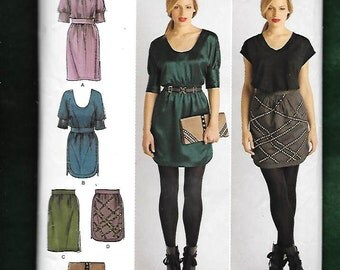 Simplicity 2305 Misses' Dresses, With Deep Scoop, Dirndl Skirts, And Clutch Purse By Cynthia Rowley, Sizes 12 To 20, UNCUT