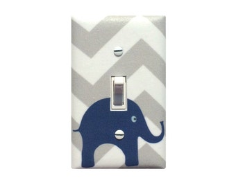 Chevron Elephant Light Switch Plate / Baby Boy Nursery Wall Decor / Navy Blue White Gray / Slightly Smitten Kitten