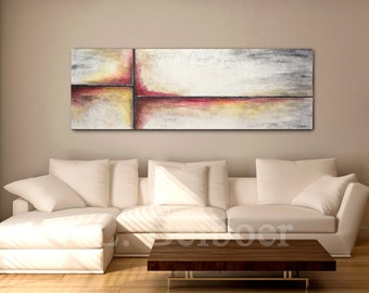 Large abstract painting original panoramic art 5 foot big gray red modern abstract painting oil 20 x 60 MADE-TO-ORDER by L. Beiboer