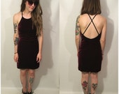 Vintage 90s Maroon Burgundy Mini Open Back Velvet Dress Size Small