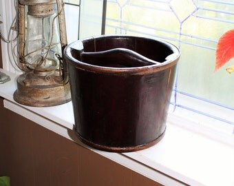 Antique Wood Firkin Wooden Bucket with Recessed Handle