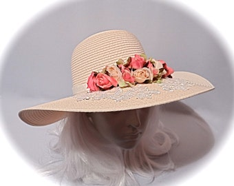 Victorian Sun Hat Dusty Rose Mother of the Bride Tea Party Hats DH-105