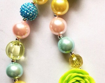 little girl chunky bead necklace yellow blue lime green bubble gum chunky baby necklace big girl necklace big bead necklace