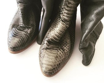 Vintage Buttery Slate Leather & Snakeskin Boots 7/7.5