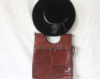 Vintage 70's Large Cognac Leather Handbag