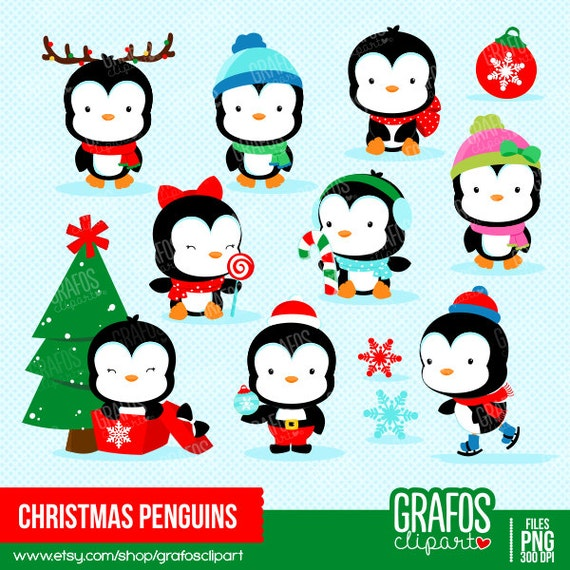 christmas penguins digital clipart set merry christmas. Black Bedroom Furniture Sets. Home Design Ideas