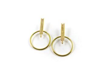 Halo Earrings || Art Deco Geometric Earrings