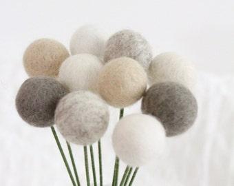 Farmhouse Felt Pom Pom Flowers- Billy Ball Flowers- Ivory Cream Gray- Bridesmaid bouquet- Flower bouquet- neutral wool pom poms- gray ivory