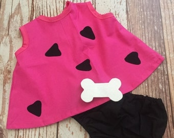Pebbles Costume - Infant, Toddler - 6M to 3T - Pink and Black