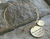 She believed she could so she did, Encouragement Bracelet, Strength Bracelet, Sister Bracelet, Daughter Bracelet, Custom Charm Bracelet