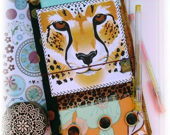 OOAK Fauxdori, Wild Animal Midori, Fabric Collage Fauxdori, Traveler's Notebook, Free Insert!