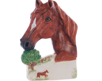 Horse Personalized Christmas Ornament - sorrel horse with flaxen mane ornament - personalized free with your horses name (25)