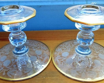 Beautiful Blue Fostoria Etched Glass Candle Holders/Blue and Gold Candle Sticks/Vintage Blue Wedding Candle Gift/Something Blue