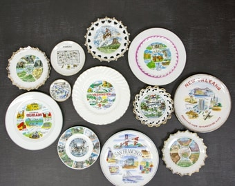 Vintage State Plates - Travel Souvenir Plate Set - Instant Plate Collection - Kitsch Kitchen Hanging Decorative Plate Wall Art - Set of 12