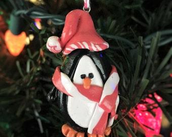 Penguin Ornament, CLEARANCE, Christmas Penguin Ornament, Winter Penguin Ornament, Snowman Penguin