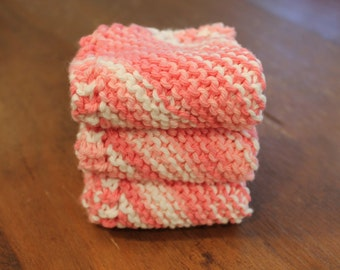 3 Hand Knitted Dish Cloths, Dish Rags, Pink, Strawberry, Cotton, Sugar'n Cream Yarn, Wash cloths, dishcloths, washcloth, washcloths