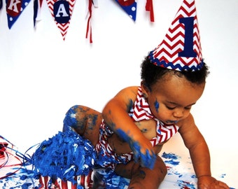Red Chevron Blue Polka Dot Baby Boy Birthday Banner & Smash Cake Outfit. Diaper Cover With Overall Suspenders Tie and Hat Photo Prop
