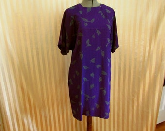 Vintage 60s CALIFORNIA GIRL Purple Shift Pocket Tunic Side Button Mod Dress size M