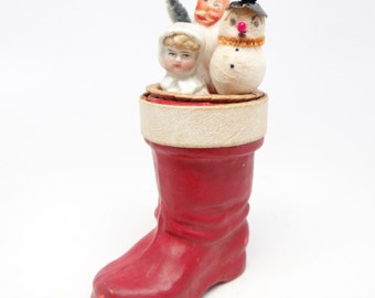 1940's Santa's Boot Candy Container with Santa, Snowman and Doll for Christmas