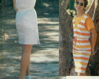 PATTERN Vogue 8078 Loose fit pullover blouson jumper dress drawstring waist tshirt top blouse Size 14-16-18 Vogue Sport (uncut)
