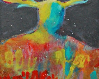 "Colorful Nature Spirit Painting, Small Original Art, Naive, Outsider, ""Strength"" 8x10"""