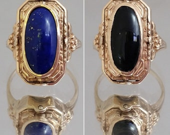 ONE-OF-A-KIND Art Deco Double Two Sided Black Onyx & Blue Lapis 10k Flip Ring