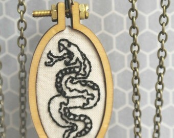 Embroidered Snake Pendant Necklace Snake Design Tattoo Flash Jewelry Gift for Her Gift Under 50 Miniature Embroidery