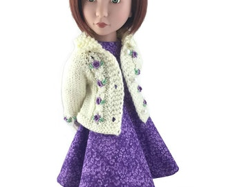 Lavender Eyelet Cable Cardigan and dress for A Girl for All Time