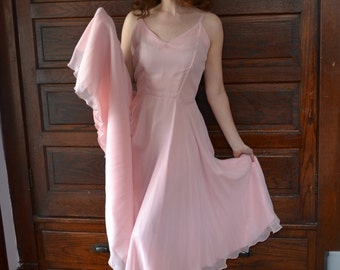 Pale Orchid 70's Evening Dress / Full Skirt Fit and Flare / Full Bloom Dress