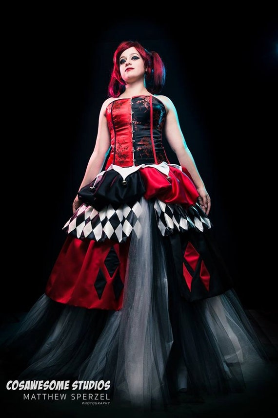 Items Similar To One Of A Kind Harley Quinn Wedding Dress Cosplay Gown On Etsy