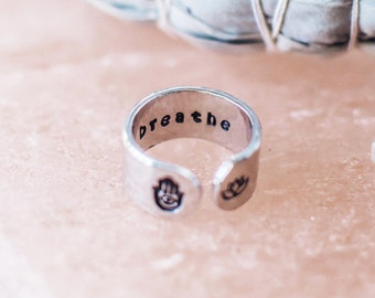 Breathe ring. Inspirational ring. Hamsa hand lotus flower ring. Inspirational gift. Secret message hand stamped quote ring. RTS RA003