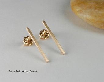 14K Gold Bar Earrings Minimalist Earrings Gold Jewelry Gold Bar Studs Luxury Jewelry