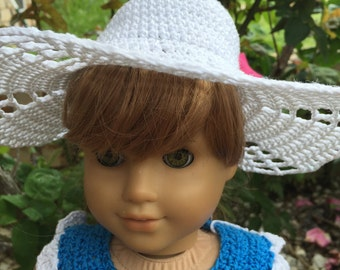 Fun in the Sun Garden Party Hat Instant Download Crochet Pattern for 18inch Dolls like American Girl