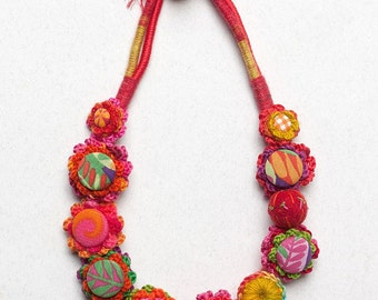 Floral textile necklace, colorful crochet jewelry with fabric buttons, OOAK