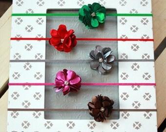 Tiny Satin Jewel Flower Headbands - Perfect for Preemies - Newborn Mini Flower Hair Bows - Delicate Preemie Baby Girl Headband Gift Set