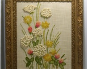 Vintage Large Framed Crewel Wall Hanging Hand Embroidered Yellow Pink Green Wild Flowers with Gold Ornate Frame