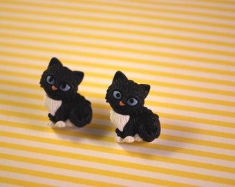 Black Cat Earrings -- Black Cat Studs, Black and White