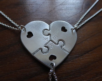 Three Piece Heart Puzzle with Hearts with Initials 3